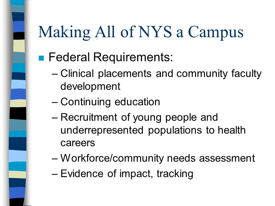 Making All of NYS a Campus n Federal Requirements: –Clinical placements and community faculty development –Continuing education –Recruitment of young people and underrepresented populations to health careers –Workforce/community needs assessment –Evidence of impact, tracking