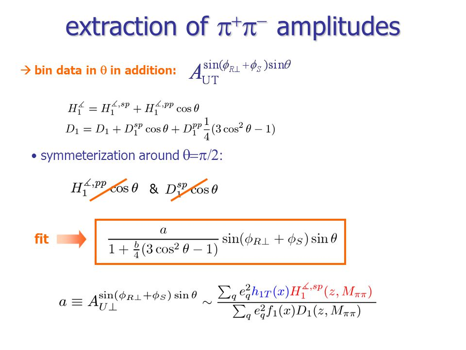 extraction of     amplitudes symmeterization around  fit  bin data in  in addition: &