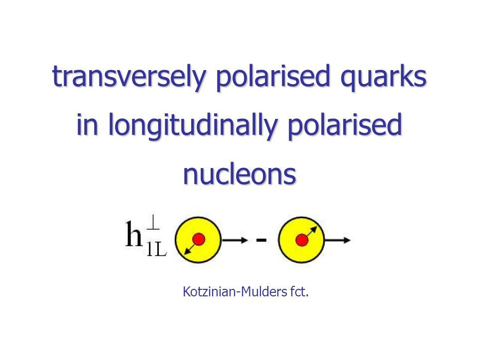 transversely polarised quarks in longitudinally polarised nucleons Kotzinian-Mulders fct.