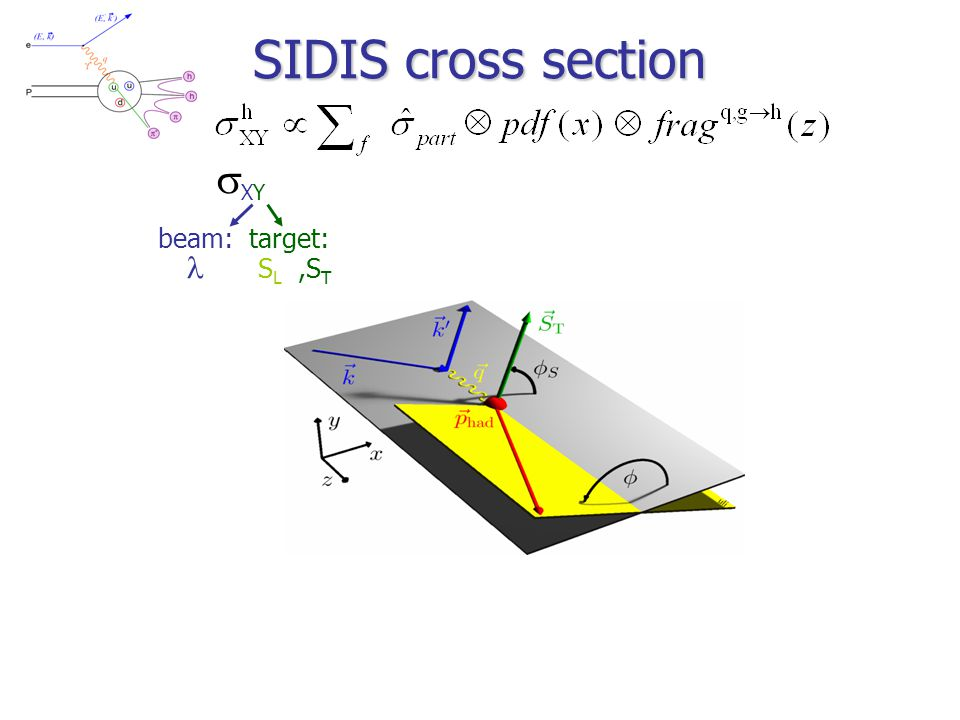 SIDIS cross section XYXY beam: target:   S L,S T