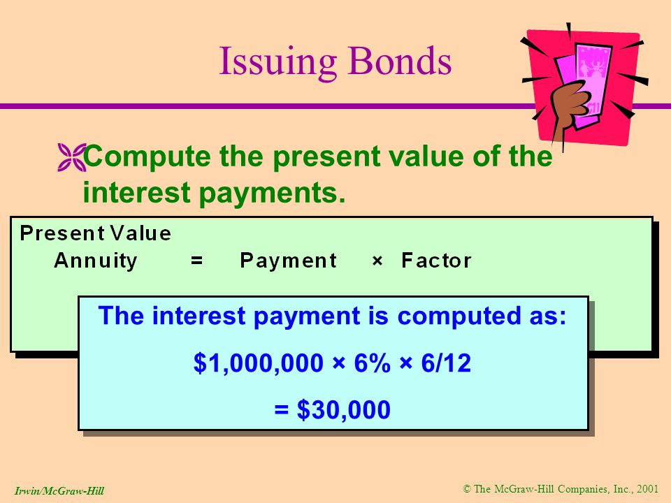 © The McGraw-Hill Companies, Inc., 2001 Irwin/McGraw-Hill Issuing Bonds ËCompute the present value of the interest payments.
