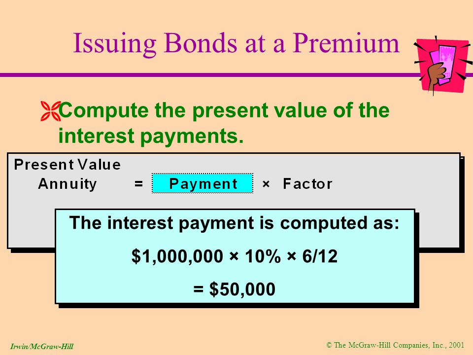 © The McGraw-Hill Companies, Inc., 2001 Irwin/McGraw-Hill Issuing Bonds at a Premium ËCompute the present value of the interest payments.