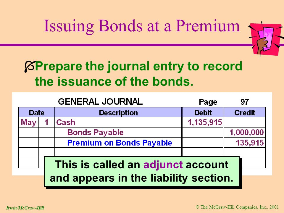 © The McGraw-Hill Companies, Inc., 2001 Irwin/McGraw-Hill Issuing Bonds at a Premium ÍPrepare the journal entry to record the issuance of the bonds.