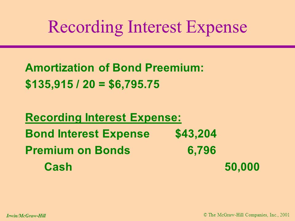 © The McGraw-Hill Companies, Inc., 2001 Irwin/McGraw-Hill Recording Interest Expense Amortization of Bond Preemium: $135,915 / 20 = $6, Recording Interest Expense: Bond Interest Expense $43,204 Premium on Bonds 6,796 Cash 50,000