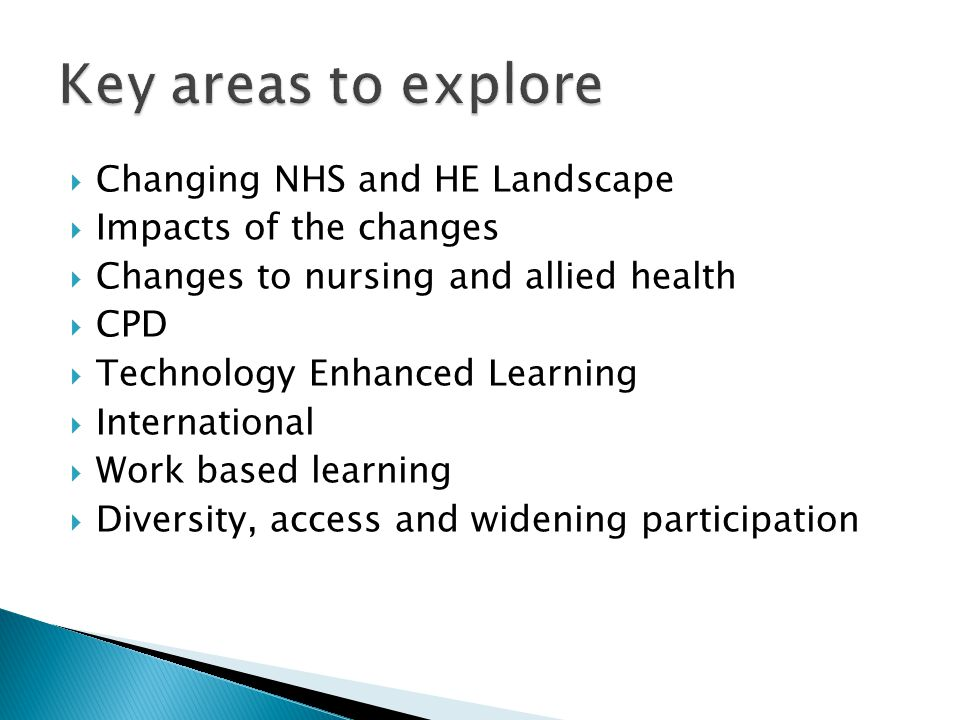  Changing NHS and HE Landscape  Impacts of the changes  Changes to nursing and allied health  CPD  Technology Enhanced Learning  International  Work based learning  Diversity, access and widening participation