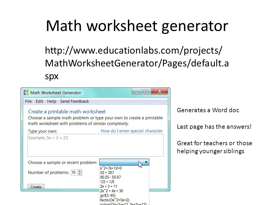 Free math worksheet generator program