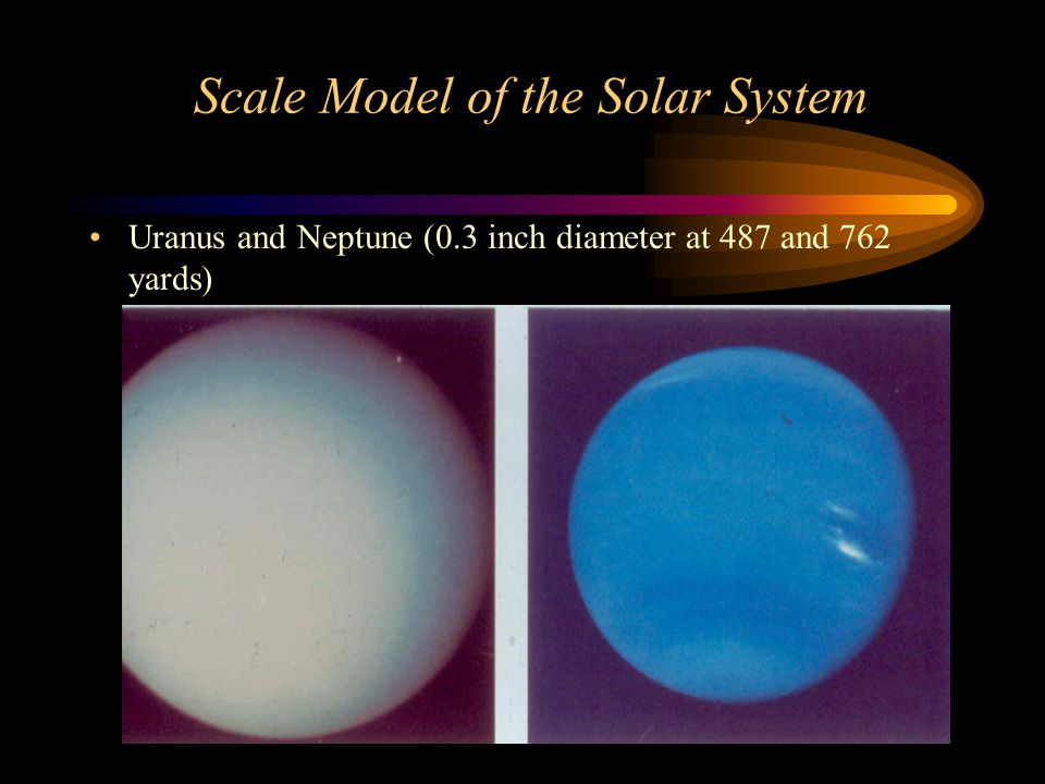Scale Model of the Solar System Uranus and Neptune (0.3 inch diameter at 487 and 762 yards)