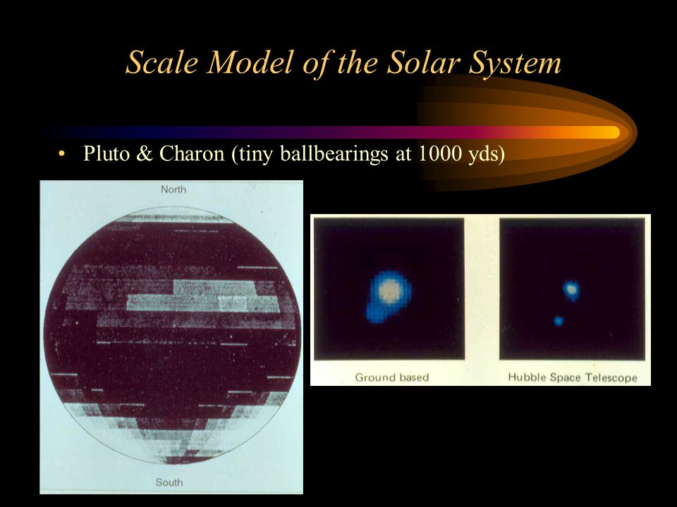 Scale Model of the Solar System Pluto & Charon (tiny ballbearings at 1000 yds)