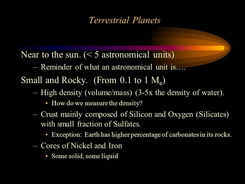 Terrestrial Planets Near to the sun.