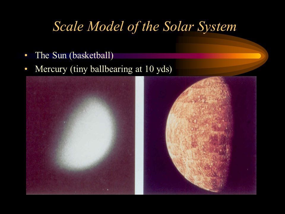 Scale Model of the Solar System The Sun (basketball) Mercury (tiny ballbearing at 10 yds)