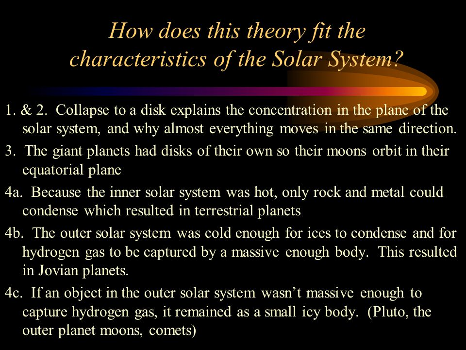 How does this theory fit the characteristics of the Solar System.