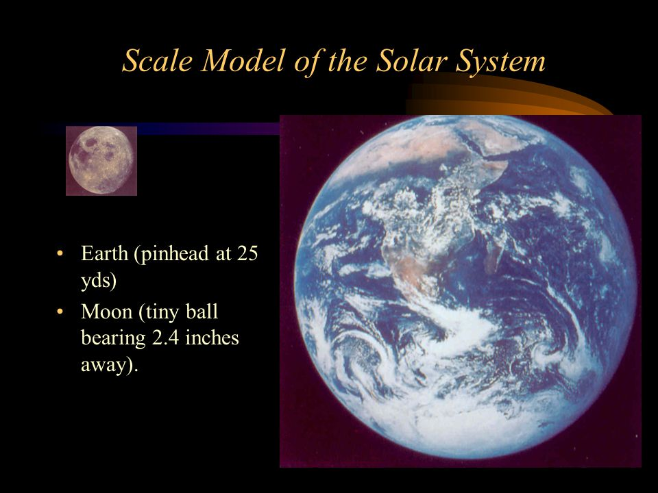 Scale Model of the Solar System Earth (pinhead at 25 yds) Moon (tiny ball bearing 2.4 inches away).