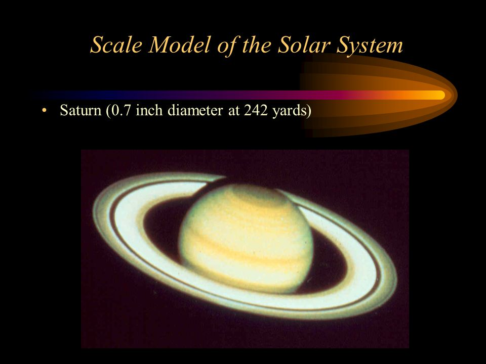 Scale Model of the Solar System Saturn (0.7 inch diameter at 242 yards)