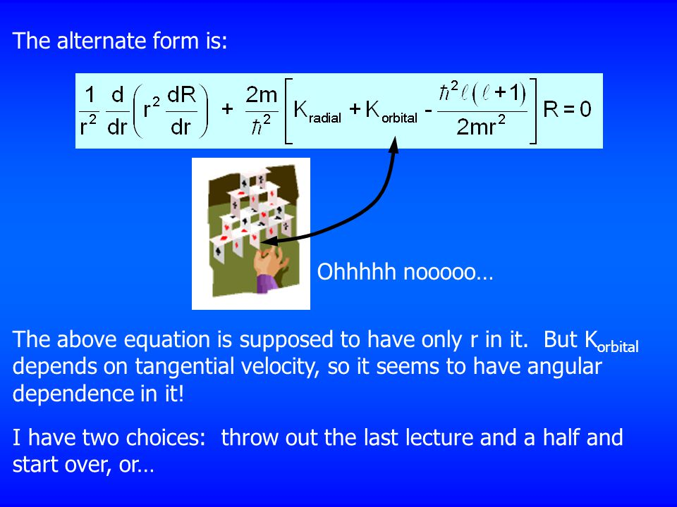 The alternate form is: Ohhhhh nooooo… The above equation is supposed to have only r in it.