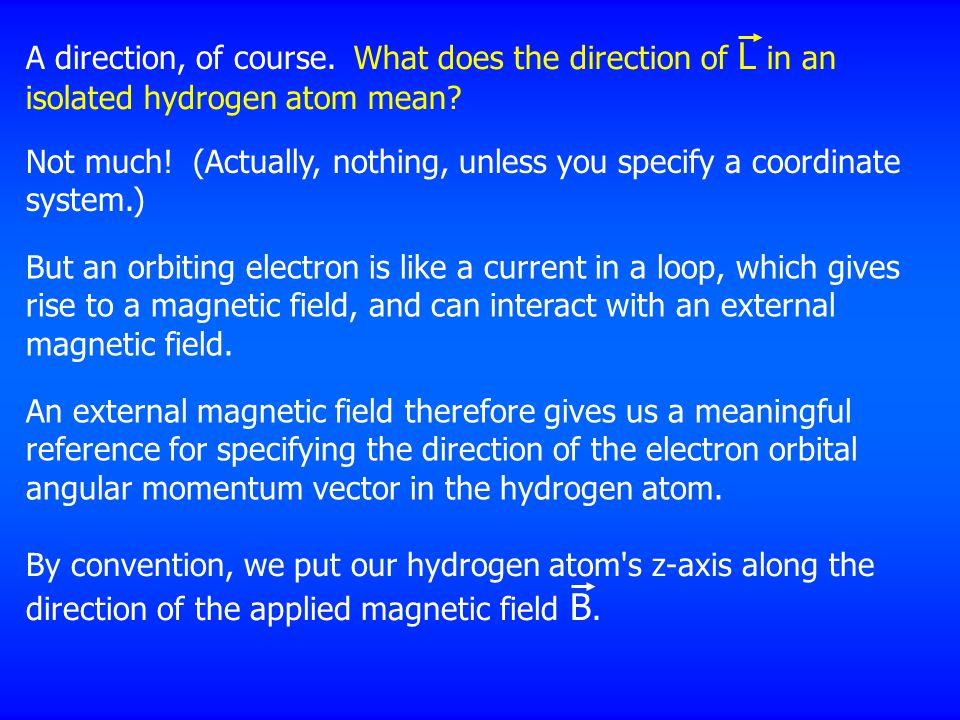 A direction, of course. What does the direction of L in an isolated hydrogen atom mean.