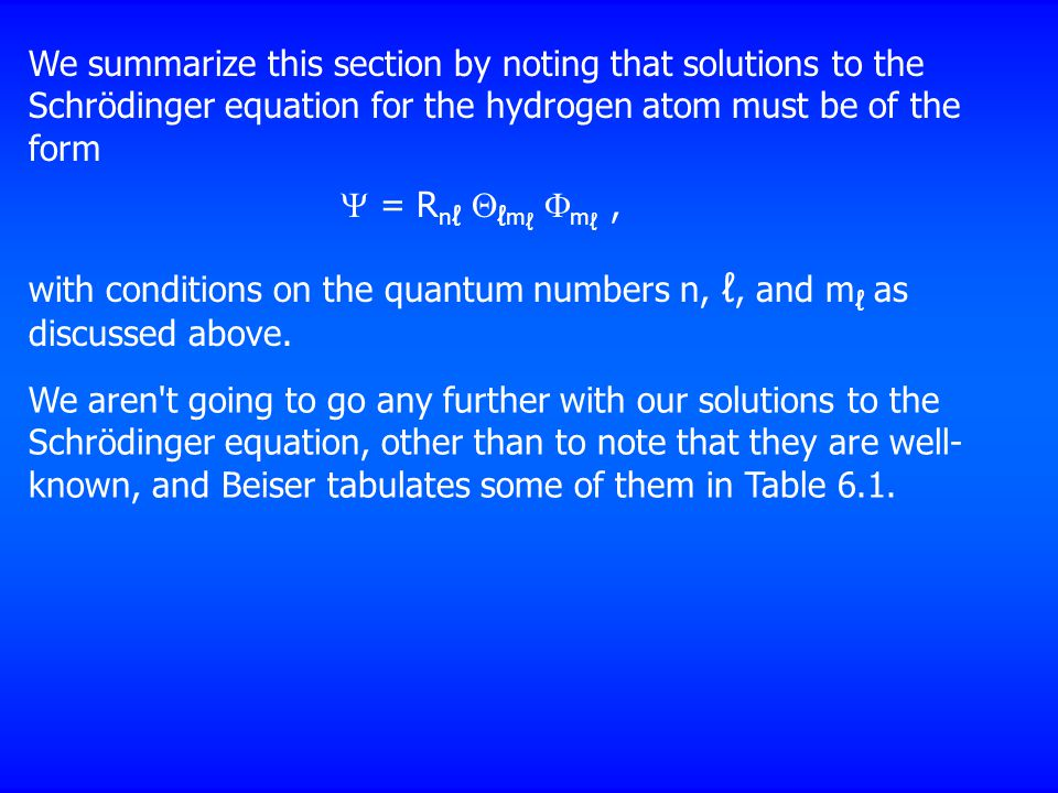 We summarize this section by noting that solutions to the Schrödinger equation for the hydrogen atom must be of the form  = R n ℓ  ℓ m ℓ  m ℓ, with conditions on the quantum numbers n, ℓ, and m ℓ as discussed above.