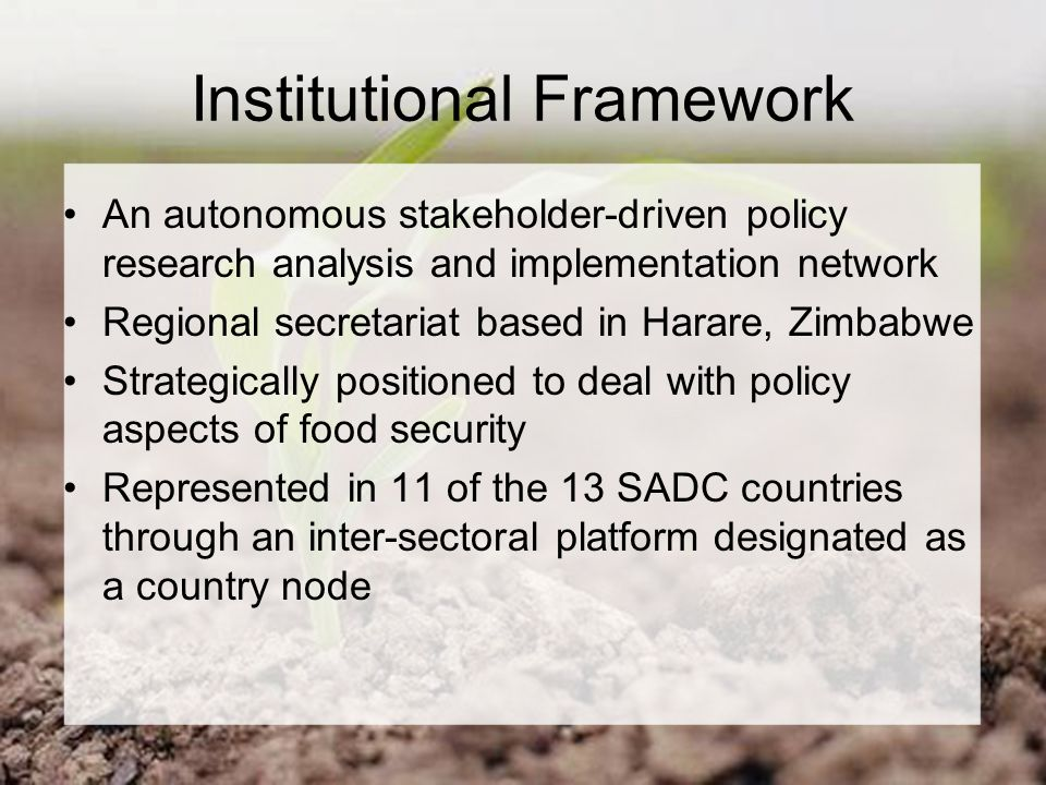 Institutional Framework An autonomous stakeholder-driven policy research analysis and implementation network Regional secretariat based in Harare, Zimbabwe Strategically positioned to deal with policy aspects of food security Represented in 11 of the 13 SADC countries through an inter-sectoral platform designated as a country node