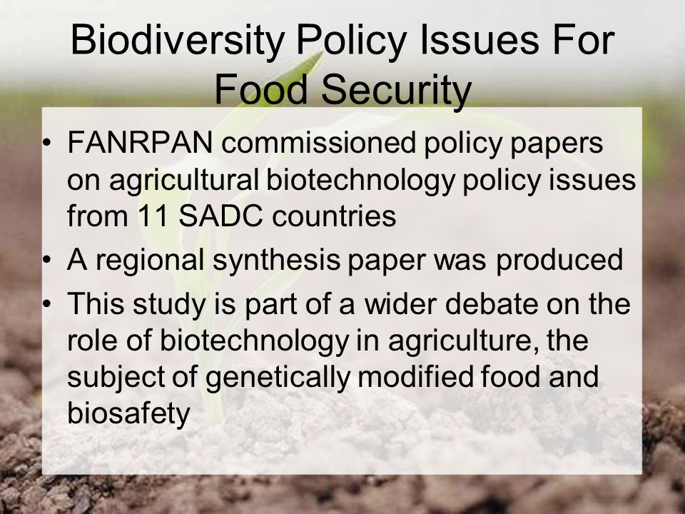 Biodiversity Policy Issues For Food Security FANRPAN commissioned policy papers on agricultural biotechnology policy issues from 11 SADC countries A regional synthesis paper was produced This study is part of a wider debate on the role of biotechnology in agriculture, the subject of genetically modified food and biosafety