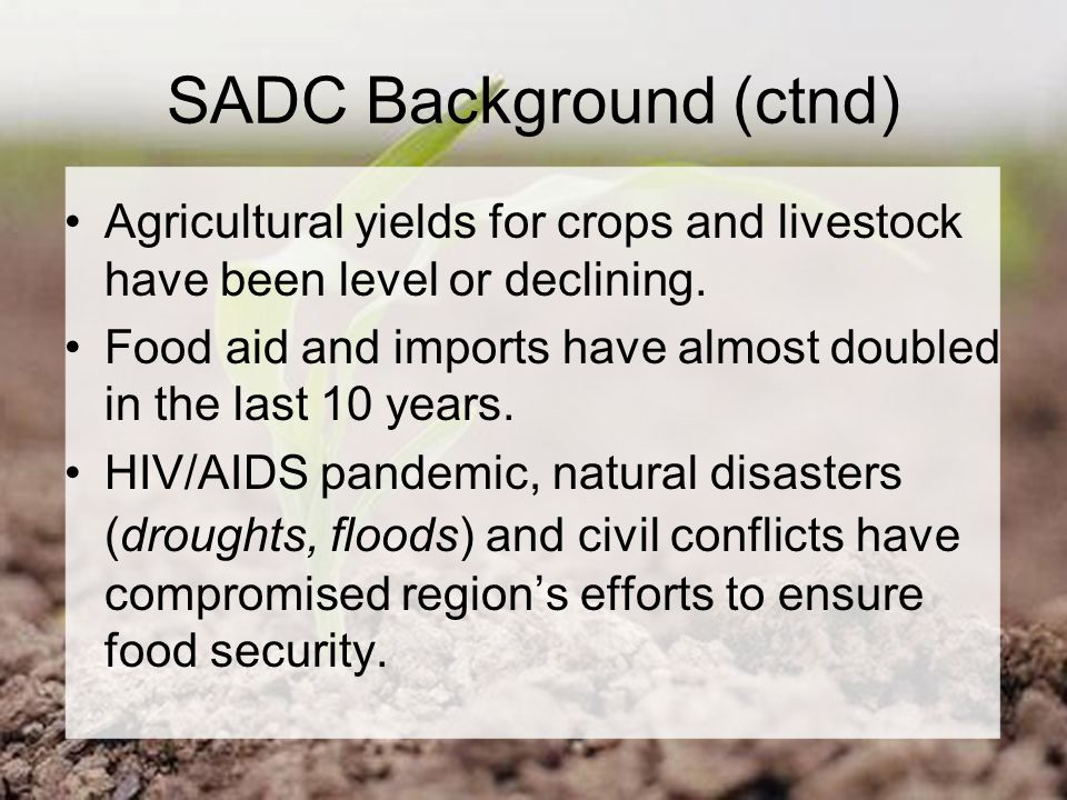 SADC Background (ctnd) Agricultural yields for crops and livestock have been level or declining.