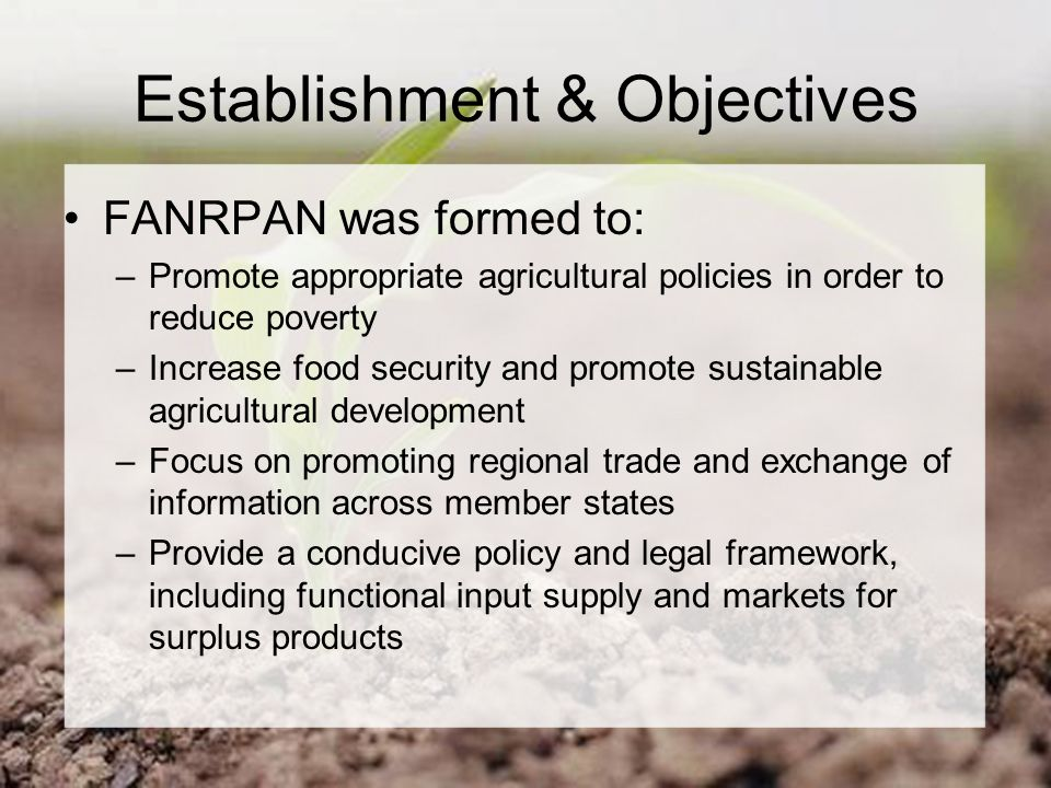 Establishment & Objectives FANRPAN was formed to: –Promote appropriate agricultural policies in order to reduce poverty –Increase food security and promote sustainable agricultural development –Focus on promoting regional trade and exchange of information across member states –Provide a conducive policy and legal framework, including functional input supply and markets for surplus products