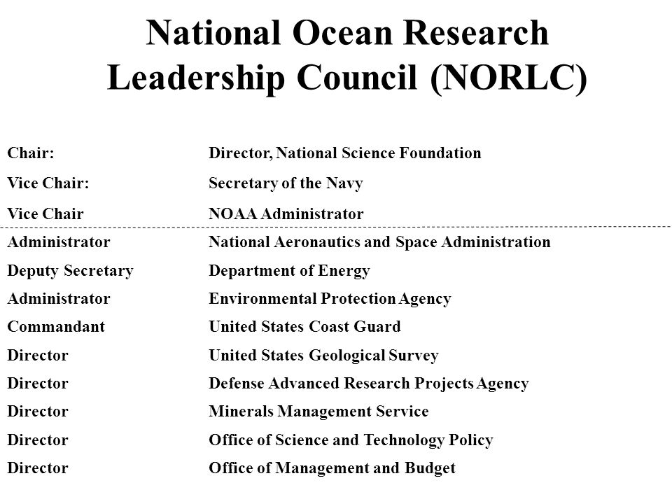 National Ocean Research Leadership Council (NORLC) Chair:Director, National Science Foundation Vice Chair: Secretary of the Navy Vice Chair NOAA Administrator Administrator National Aeronautics and Space Administration Deputy Secretary Department of Energy Administrator Environmental Protection Agency Commandant United States Coast Guard DirectorUnited States Geological Survey Director Defense Advanced Research Projects Agency Director Minerals Management Service Director Office of Science and Technology Policy Director Office of Management and Budget