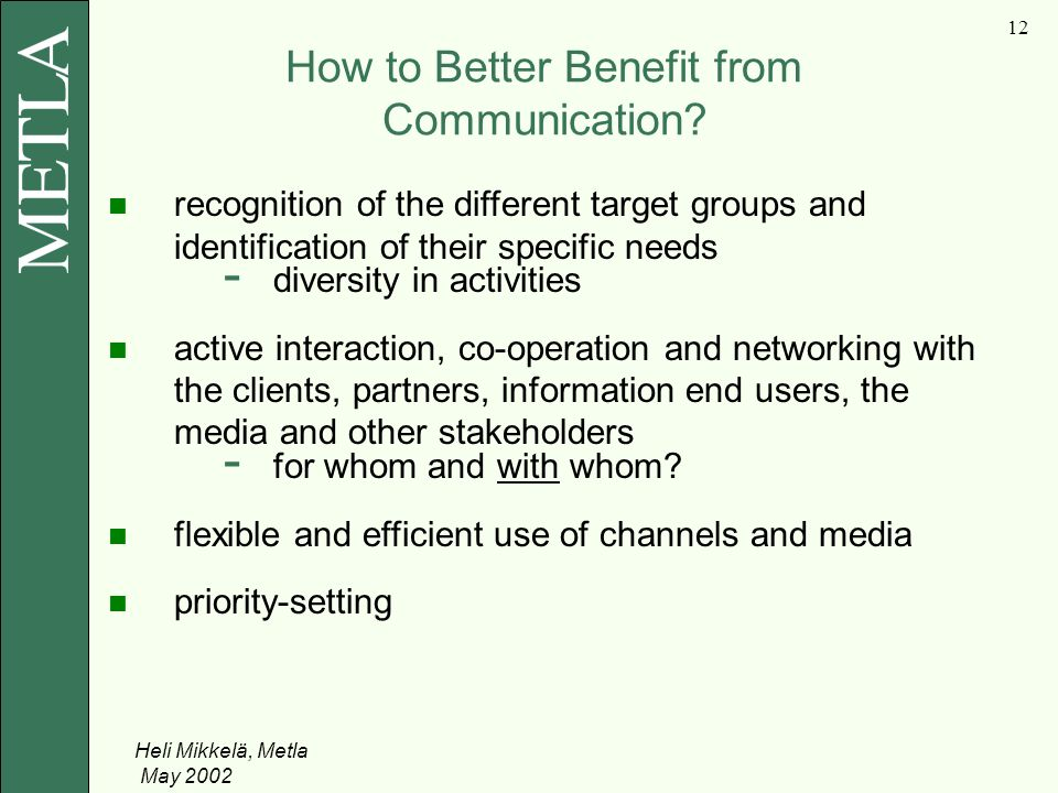 Heli Mikkelä, Metla May How to Better Benefit from Communication.