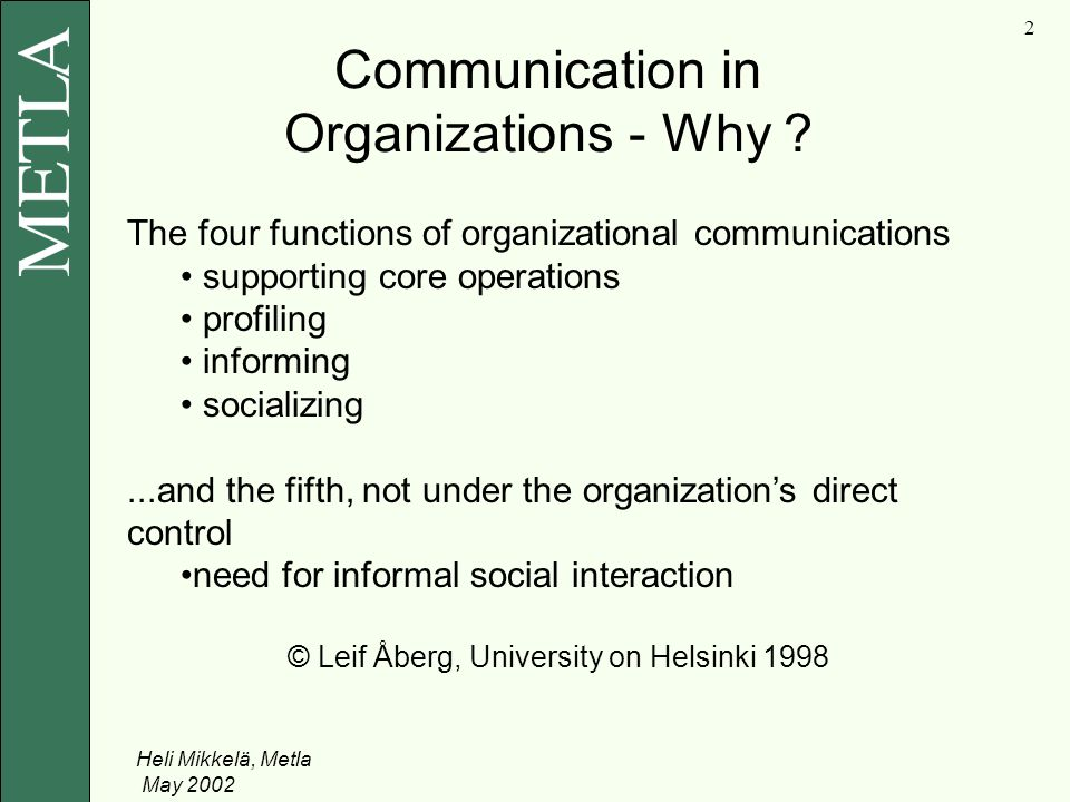 Heli Mikkelä, Metla May Communication in Organizations - Why .