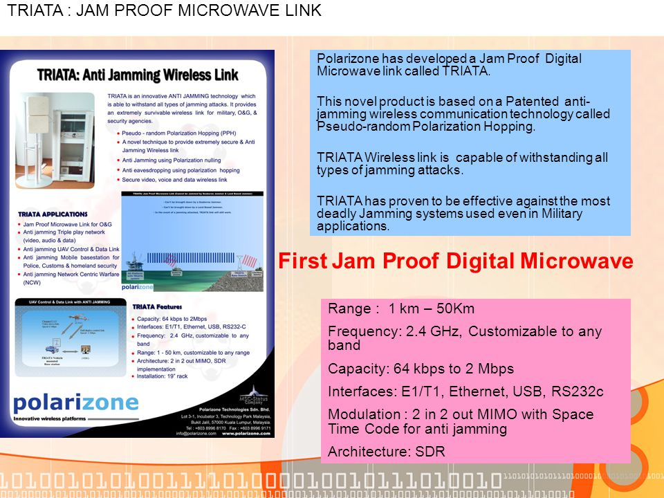 Triata Jam Proof Microwave Link Polarizone Has Developed A Digital Called
