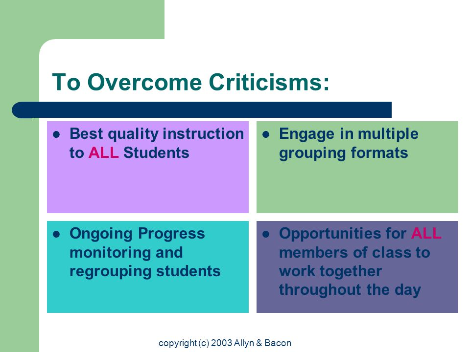 copyright (c) 2003 Allyn & Bacon To Overcome Criticisms: Best quality instruction to ALL Students Engage in multiple grouping formats Ongoing Progress monitoring and regrouping students Opportunities for ALL members of class to work together throughout the day