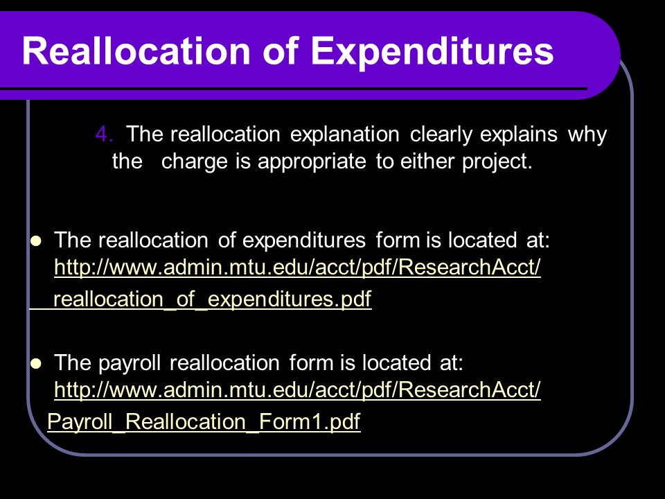 Reallocation of Expenditures 4.