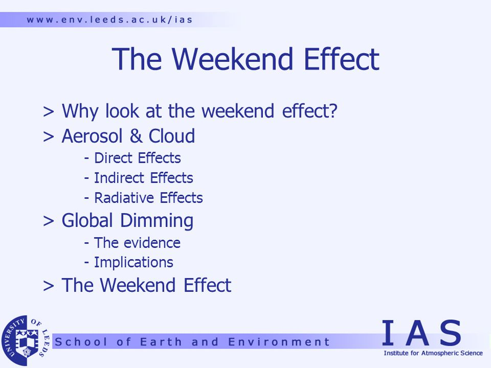 The Weekend Effect > Why look at the weekend effect.