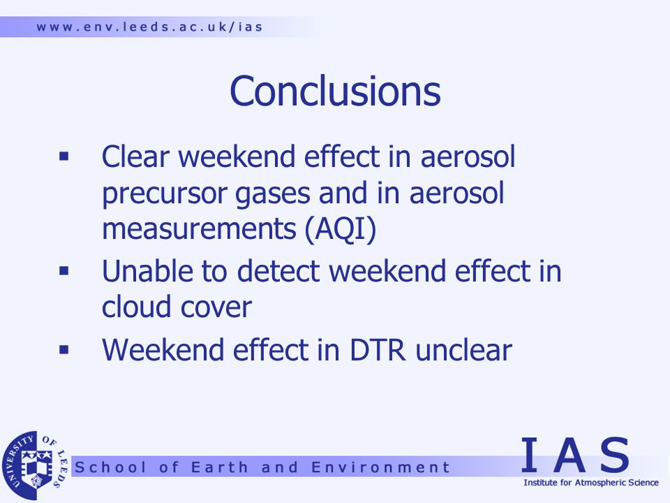 Conclusions  Clear weekend effect in aerosol precursor gases and in aerosol measurements (AQI)  Unable to detect weekend effect in cloud cover  Weekend effect in DTR unclear