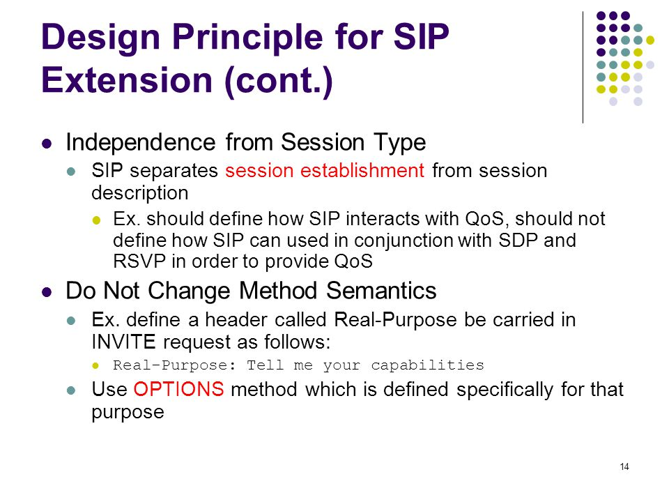14 Design Principle for SIP Extension (cont.) Independence from Session Type SIP separates session establishment from session description Ex.