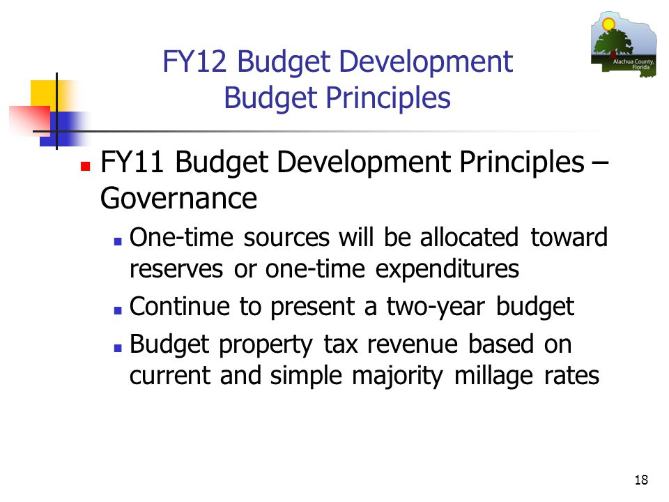 FY12 Budget Development Budget Principles FY11 Budget Development Principles – Governance One-time sources will be allocated toward reserves or one-time expenditures Continue to present a two-year budget Budget property tax revenue based on current and simple majority millage rates 18