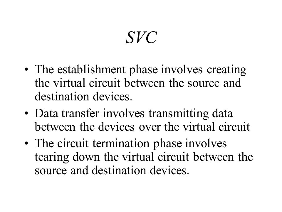SVC The establishment phase involves creating the virtual circuit between the source and destination devices.
