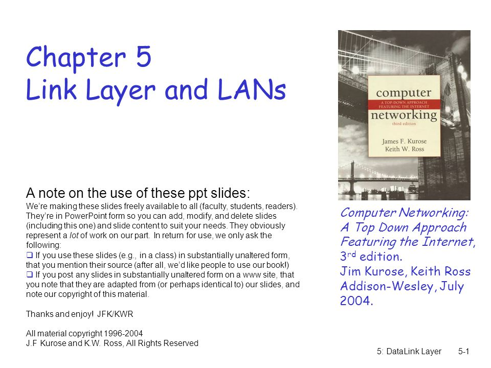 5: DataLink Layer5-1 Chapter 5 Link Layer and LANs Computer Networking: A Top Down Approach Featuring the Internet, 3 rd edition.