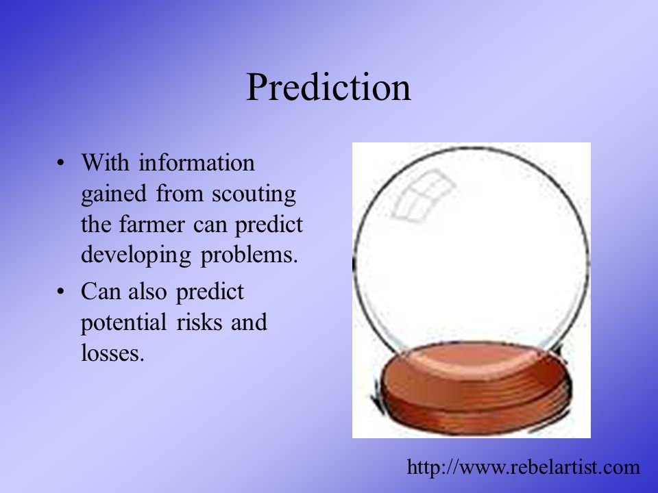 Prediction With information gained from scouting the farmer can predict developing problems.