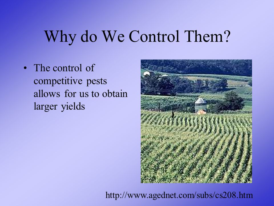 Why do We Control Them.