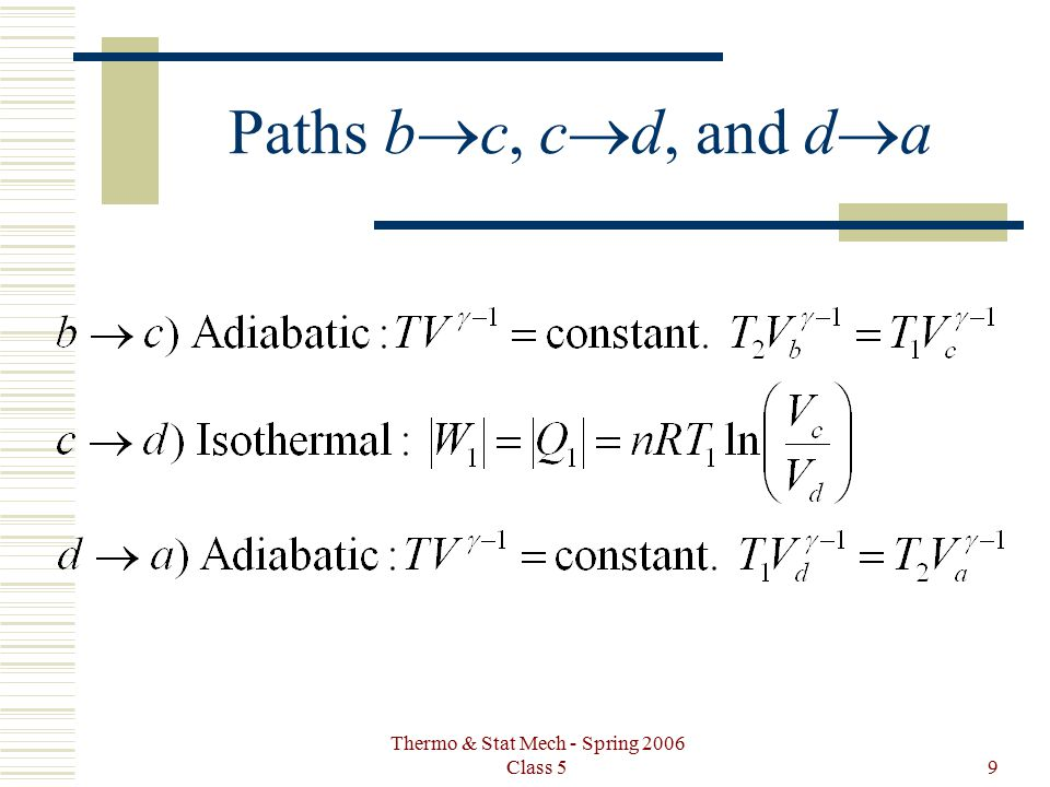 Thermo & Stat Mech - Spring 2006 Class 59 Paths b  c, c  d, and d  a