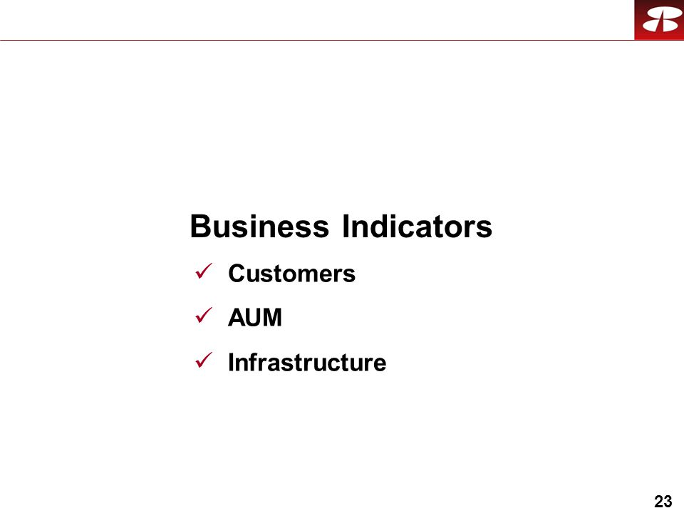 23 Business Indicators Customers AUM Infrastructure