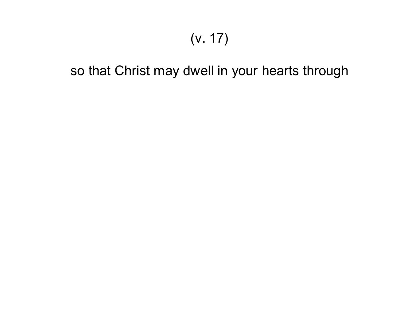 so that Christ may dwell in your hearts through