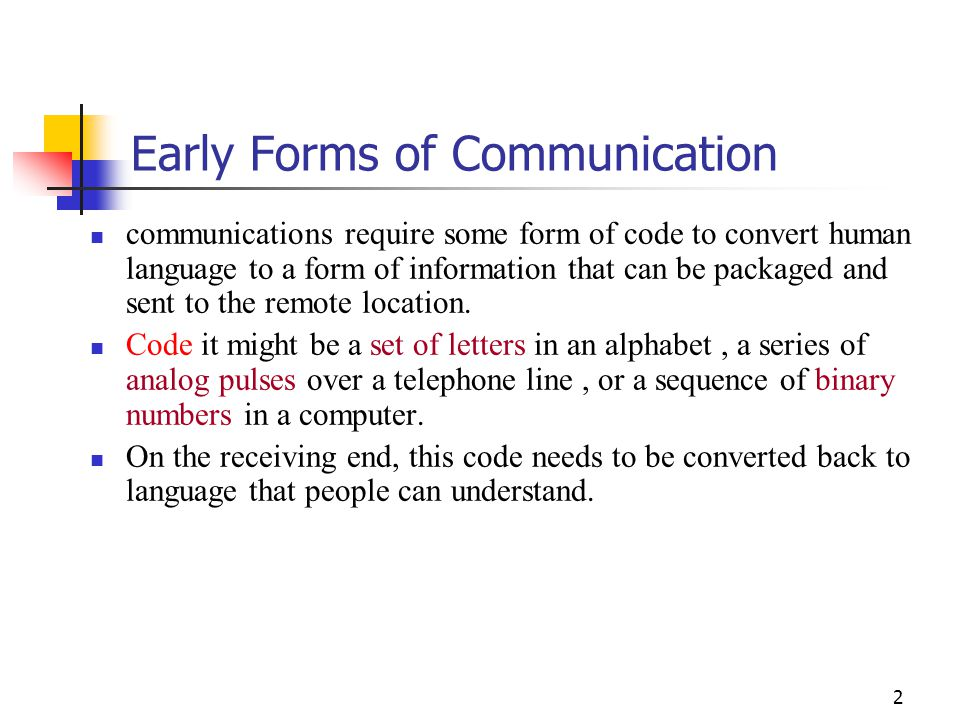 2 Early Forms Of Communication Communications Require Some Form Code To Convert Human Language
