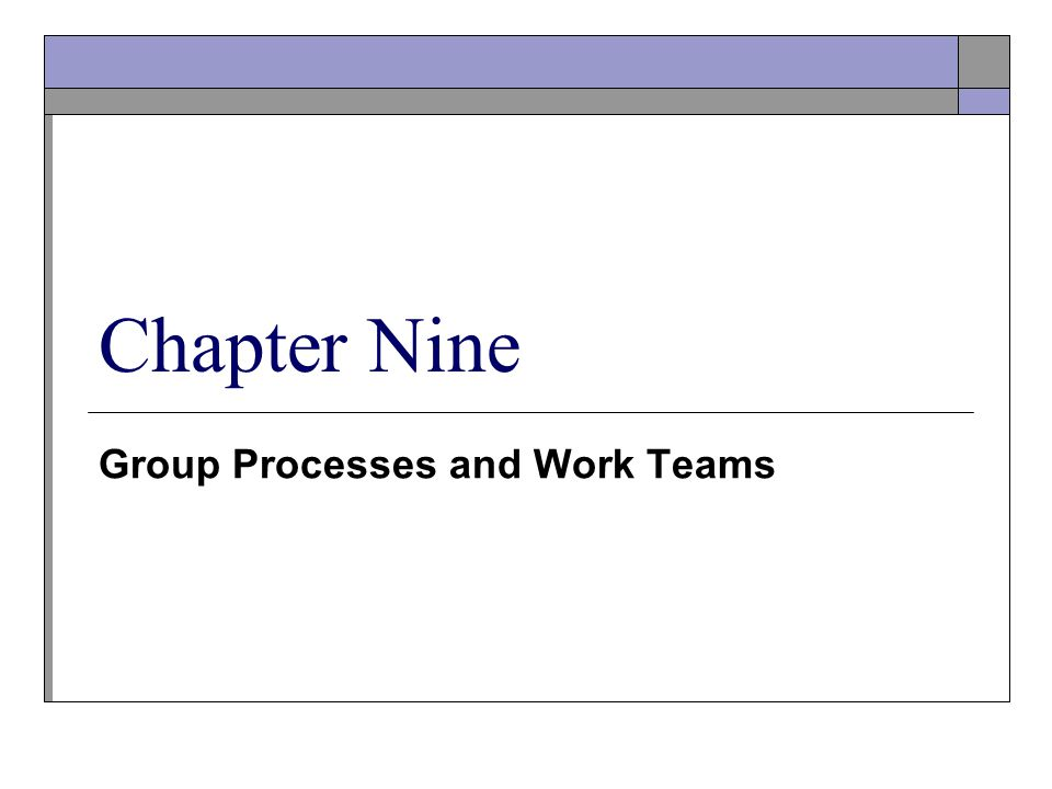 Group Processes and Work Teams Chapter Nine