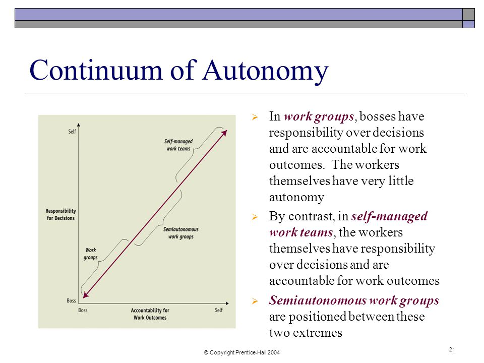 © Copyright Prentice-Hall Continuum of Autonomy  In work groups, bosses have responsibility over decisions and are accountable for work outcomes.