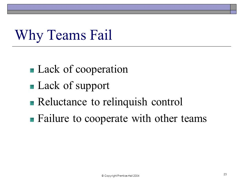 © Copyright Prentice-Hall Why Teams Fail Lack of cooperation Lack of support Reluctance to relinquish control Failure to cooperate with other teams