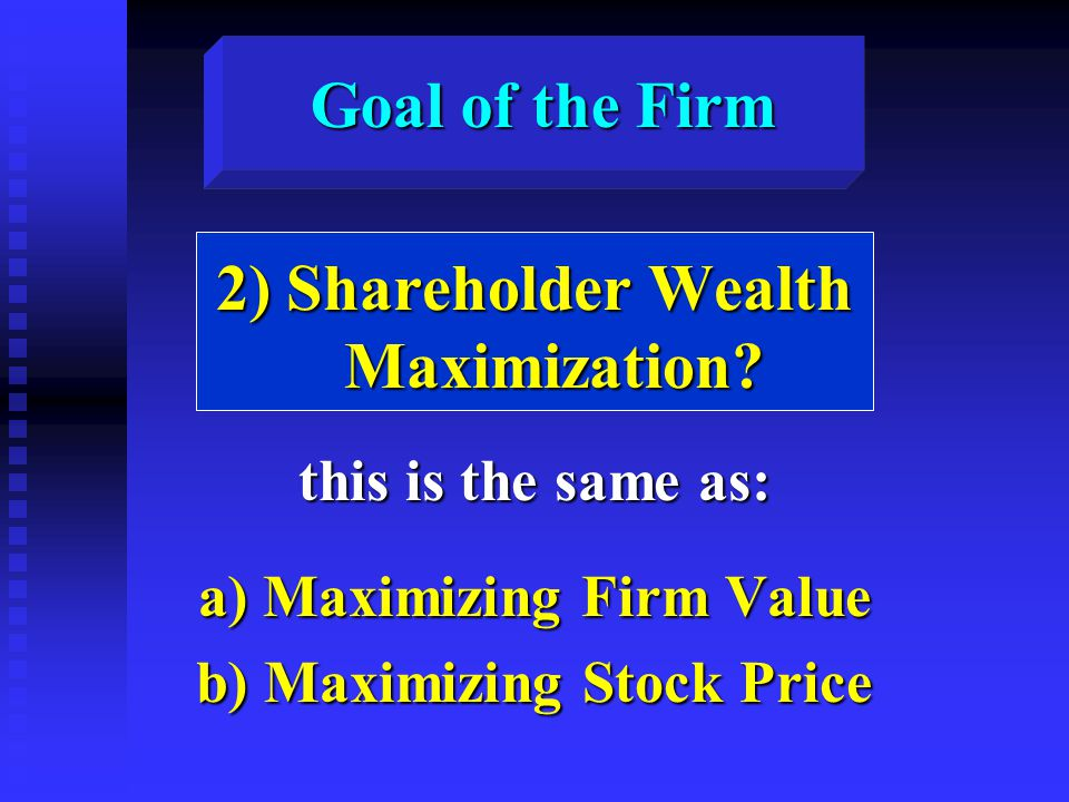 Goal of the Firm 2) Shareholder Wealth Maximization.