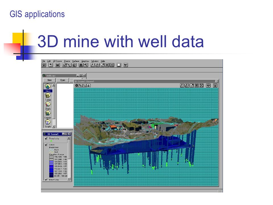 3D mine with well data GIS applications