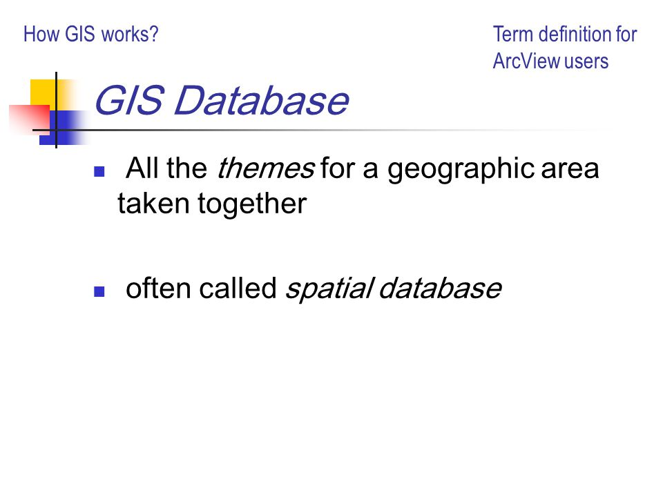 GIS Database All the themes for a geographic area taken together often called spatial database Term definition for ArcView users How GIS works