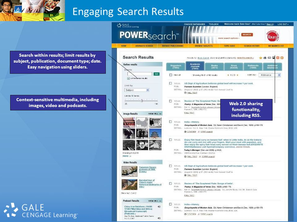 Search within results; limit results by subject, publication, document type; date.