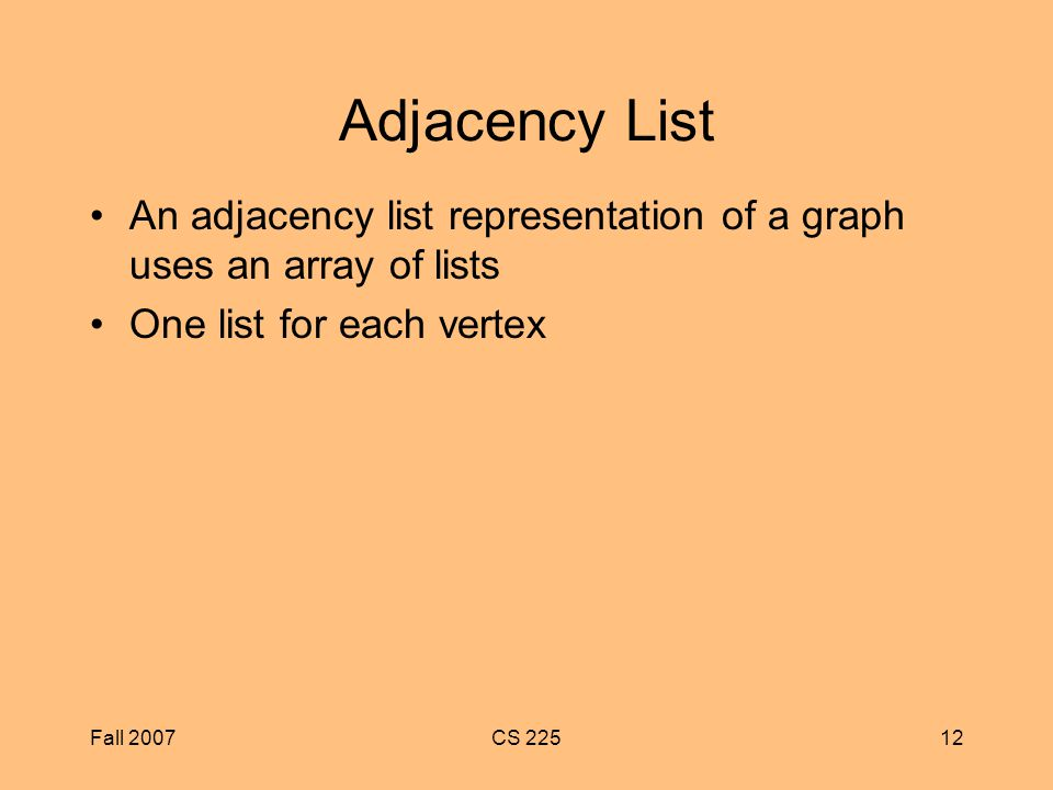 Fall 2007CS Adjacency List An adjacency list representation of a graph uses an array of lists One list for each vertex